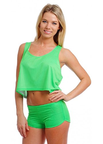 Womens Solid Neon Green Mesh Hot Shorts - Medium
