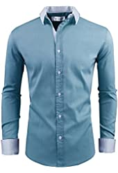 Tom's Ware Mens Slim Fit Contrasted Collar and Cuffs Longsleeve Dress Shirts
