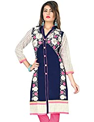Lakshminarayan Creatin's Womens Embroidered Cotton Navy Blue And White Kurti Without Leggings