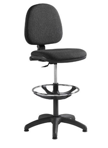 Fabric Operator seating - Fabric Draughtsman Chair (WAR300G1-C) H910xW1180xD600 - Charcoal