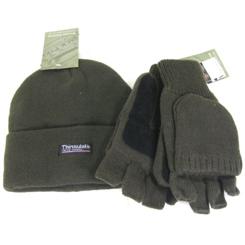 FTD JACK PYKE - Matching Green Adult Thinsulate Bob/Beanie Hat & Shooting Mits Gloves with Suede Palms Set - one size fits all!