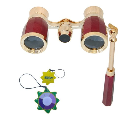 Hqrp Antique Elegant Style Opera Glasses Burgundy / Red-Pearl With Gold Trim W/ Built-In Extendable Handle Plus Hqrp Uv Meter