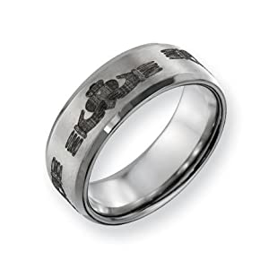 Titanium Beveled Edge 8mm Brushed and Polished Band Ring