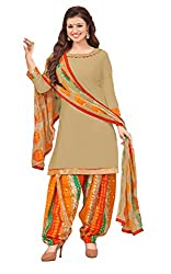 Vidhya LifeStyle Women's Glaze Cotton Unstitched Dress Material(Beige)