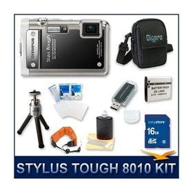 "Olympus Stylus Tough-8010 Digital Camera Black, 14 MP, 28mm 5X Optical Zoom, 2.7"" LCD Screen, Waterproof to 33', 16 GB Memory Card, Card Reader, Li-ion Battery, Deluxe Carrying Case, Tripod, Screen Protectors, Floating Camera Strap, and Lens Cleaning Kit"