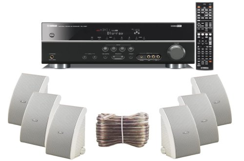 Yamaha 3D-Ready 5.1-Channel 500 Watts Digital Home Theater Audio/Video Receiver With 1080P-Compatible Hdmi Repeater & Upgraded Cinema Dsp + Set Of 6 Yamaha All Weather Indoor / Outdoor 150 Watt Wall Mountable Natural Sound 2-Way Acoustic Suspension Speake
