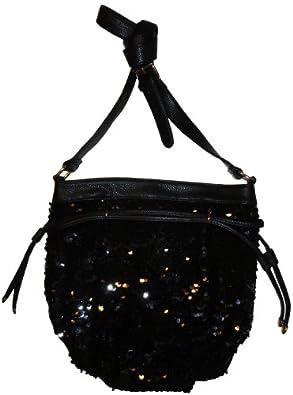 Women's Deux Lux Purse Evening Sequin Handbag Luna Black