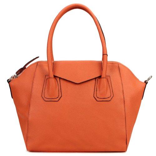 E-Girl 2P5020, Damen Orange Leder Schultertaschen 40x28x14cm (B x H x T)