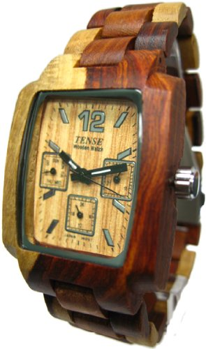 Tense Inlaid All Wood Watch Jumbo Multicolored Natural Mens J8302I