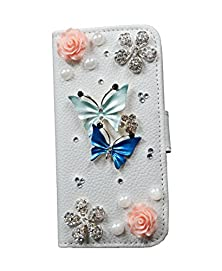 buy Iphone 6 Case 4.7Inch, Diy Bling Crystal Rhinestone Diamond Skin Case Cover For Iphone 6- Pu Iphone Wallet Case For Girls With Stand Dust Plug Fishbone Headphone Cable