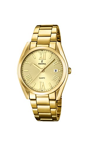 Festina Boyfriend - Reloj de cuarzo para mujer, correa de acero inoxidable color dorado
