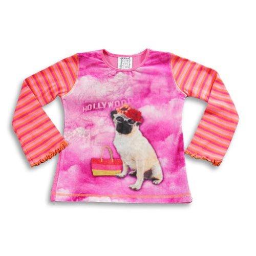 Mis Tee V-Us - Little Girls' Long Sleeve Hollywood Dog Top, Pink, Orange 20648-4/5 front-426851