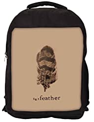 Snoogg Fig 3 Feather Backpack Rucksack School Travel Unisex Casual Canvas Bag Bookbag Satchel
