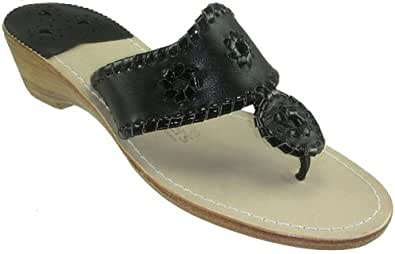 Jack Rogers Navajo Mid Wedge Women's Black Leather Thong Sandals (10)