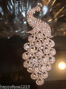 """VTG Style 5.20"""" Peacock Bird Brooch Austrian Crystal"""