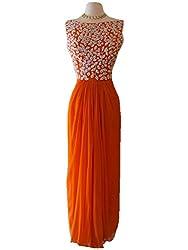 Rozdeal New Orange Colour Semi Stitched Embroidered Designer Kurtis