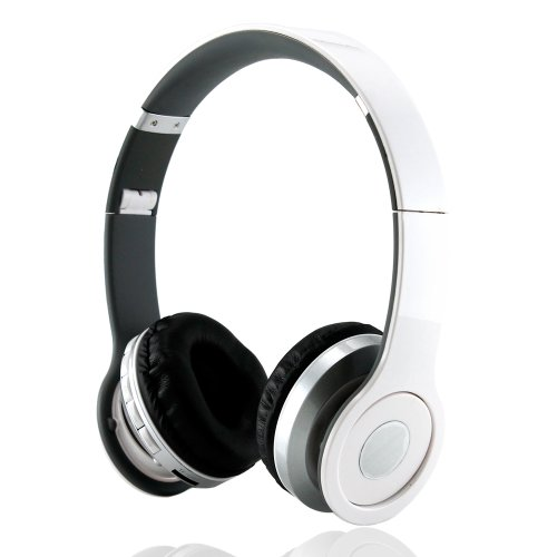 Gearonic Wireless Adjustable Over-Ear Stereo Bluetooth Headphones With Volume And Track Controls For Iphone, Ipod And Mp3 - Non-Retail Packaging - White