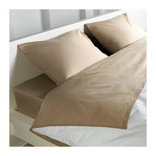 Ikea Dvala (4) Piece Queen Beige Sheet Set, 100% Cotton (Ikea Sheets Queen compare prices)