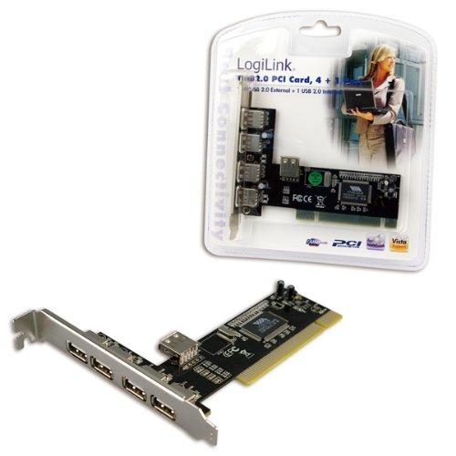 LogiLink PC0028 - Tarjeta PCI (USB 2.0/4+1 Port, 4x external + 1x internal, VIA Chip)