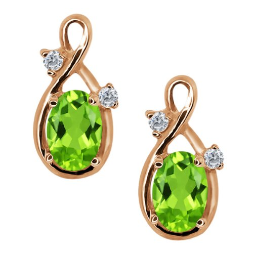 1.08 Ct Oval Green Peridot and Diamond Gold Plated Sterling Silver Earrings