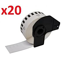 20 Rouleaux DK22214 papier étiquettes continues pour Brother QL-500, QL-550, QL-560, QL-570, QL-580N, QL-650TD, QL-700, QL-720NW, QL-1050, QL-1060N (12mm x 30.48m)