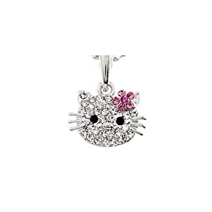 "Crystal Pave Small Kitty Face Pink Daisy Flower Ribbon Silver Plated Pendant Chain Necklace 16"" 18"""