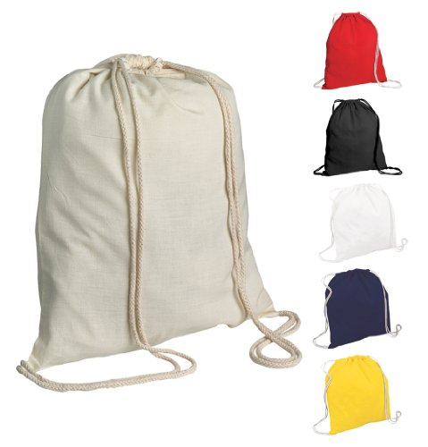5 Cotton Childrens Drawstring Rucksack - Gym, Swim, Sports, PE, Book Bag