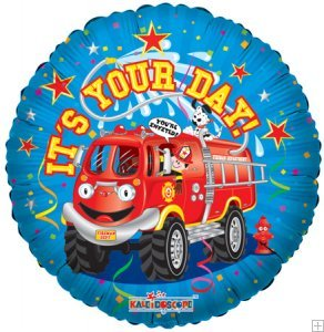 "18"" Foil Balloon, It's Your Day Firetruck (1 Ct) - 1"