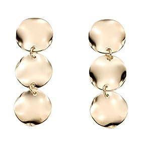 Boucles d'Oreilles Pendantes Femme - Plaqué Or - Pendants Ronds - P50783