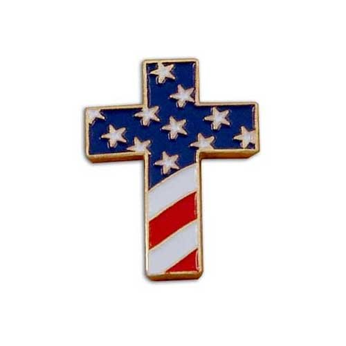 Christian Cross Special Design Pin with USA Flag