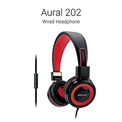 Portronics Aural 202 Wired Headphone with (Red) In-Line Mic
