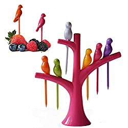 Birdie Hummingbird Disposable Fruit Fork Set With Fork Stand