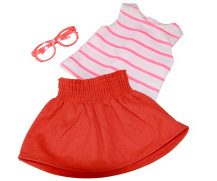 3 pc Colorful Outfit Set. Includes: Tank Top, Skirt and Glasses Color: Orange. Fits 18 Inch Dolls Clothes - 1