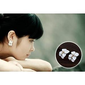 HuaYang 1 Paar Niedlich Mädchen Gardenie Blumen Kristall Strass Ohrringe Ohrstecker (Weiß)