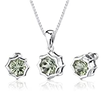 Concave Cut Snowflake Shape Green Amethyst Pendant Earring Set in Sterling Silver from astore.amazon.com