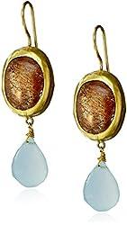 "Nava Zahavi 24k Gold, Chalcedony, and Sunstone Drop Earrings, 1.85"""