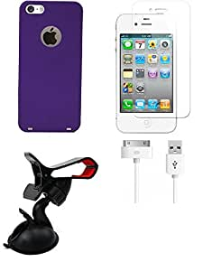 NIROSHA Tempered Glass Screen Guard Cover Case USB Cable Mobile Holder for Apple iPhone 6 - Combo