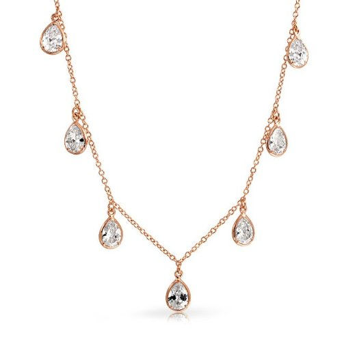 Bling Jewelry Rose Gold Plated Bezel Set Teardrop CZ Bridal Necklace 16in