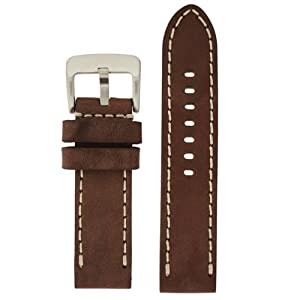 Panerai Style Watch Band Thick Leather Like Original Heavy Buckle Brown 26 millimeter by Tech Swiss