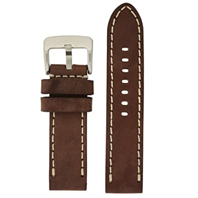 Tech Swiss LEA1555-24 24 mm leather calfskin brown watch band.