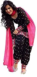 Awesome Fab Black Chanderi Cotton Unstitched Embroidered Dress Material