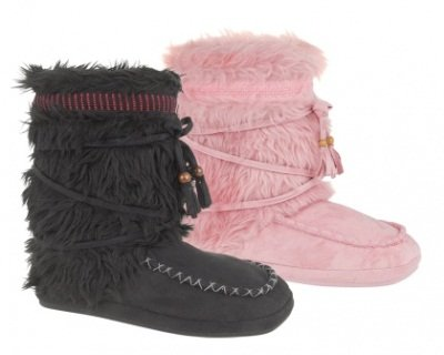 WOMENS SLIPPERS BOOTS WINTER LADIES BOOTIES FUR MOCCASINS FAUX SUEDE BLACK SMALL