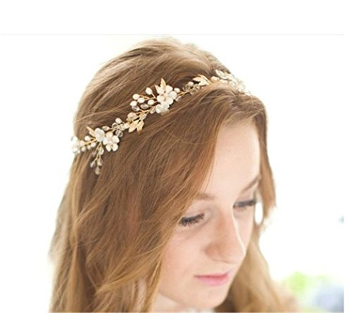 Pavian gold leaf crystal Rhinestones pearl Tiara Crown Headpiece Headband Wedding Hair Accessory