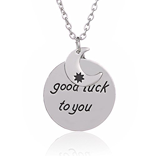 Family-BBF-Best Friends regalo Good luck to you-Pendente a forma di sole e luna, in lega, colore: argento