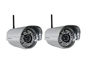2 Pack - Foscam FI8905W Outdoor Wireless/Wired IP Camera Waterproof with 30 Meter Night Vision and 6mm Lens (42? Viewing Angle)- Silver