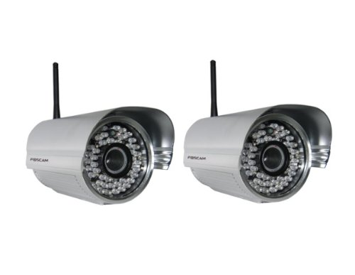 Best Buy! 2 Pack - Foscam FI8905W Outdoor Wireless/Wired IP Camera Waterproof with 30 Meter Night Vi...