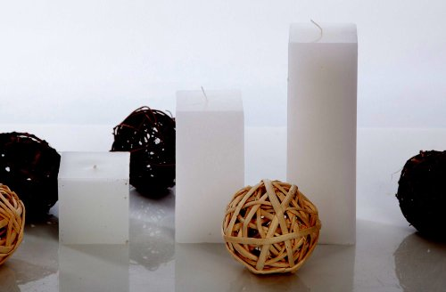 Unscented Pillar Square Candle Size: 3
