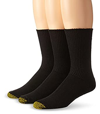 Gold Toe Men's Cushion Foot Fluffie Sock, 3-Pack, Black, 10-13