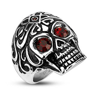 STR-0016A Stainless Steel Royal Tribe Red CZ Eyed with Gem on Top Skull Wide Cast Men's Ring; Comes With Free Gift Box (11)