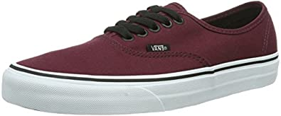 Vans U Authentic, Baskets mode mixte adulte - Bordeaux (Port Royale/Black), 34.5 EU